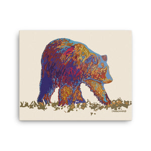Walking bear - Gallery wrapped canvas print