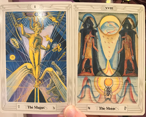 The Magician and The Moon Tarot Cards