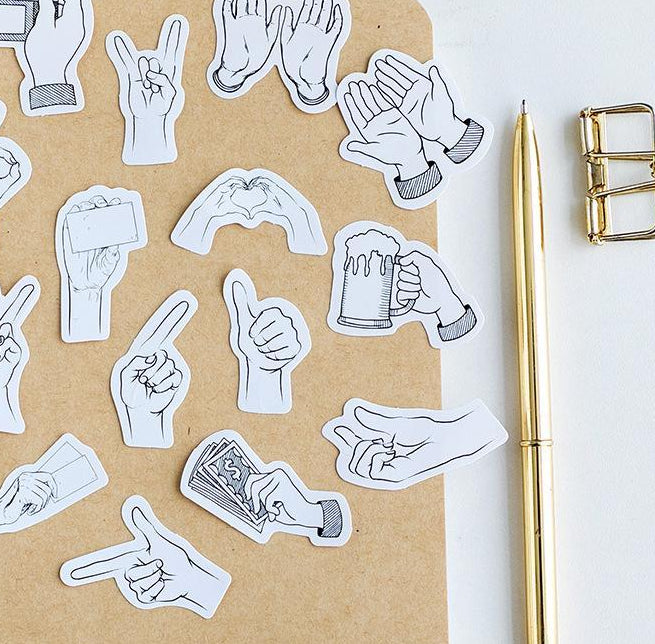 Black And White Gestures Stickers - 45 Pack