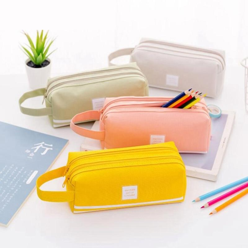 Double Zipper Large Pencil Case