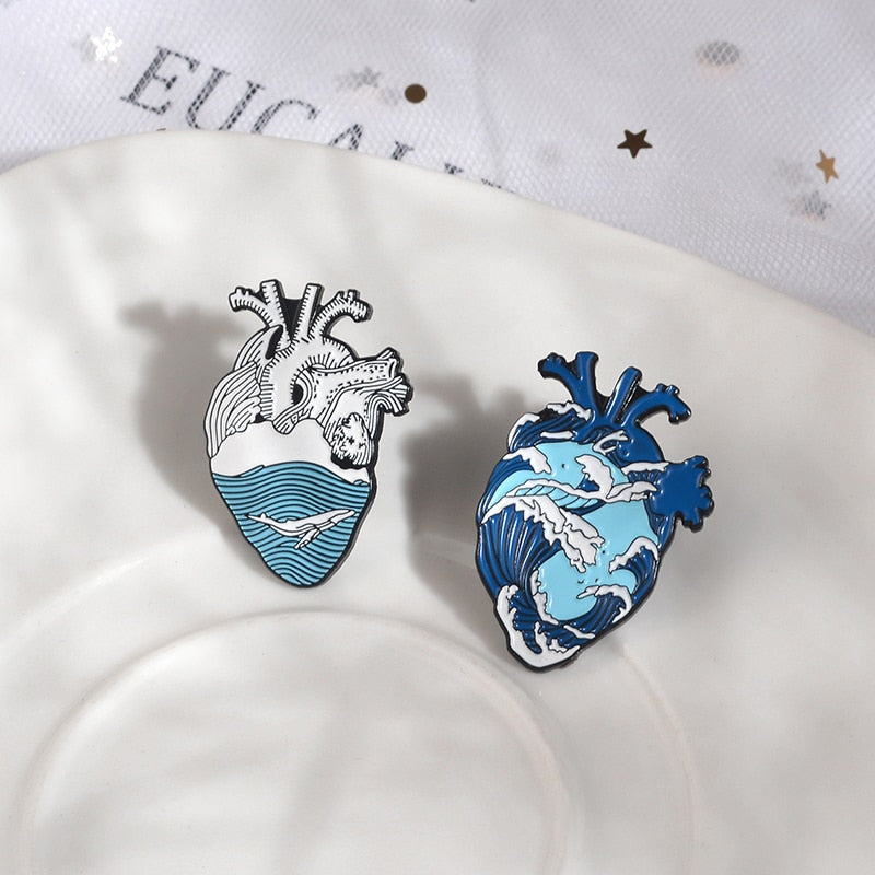 Ocean Anatomical Heart Pins
