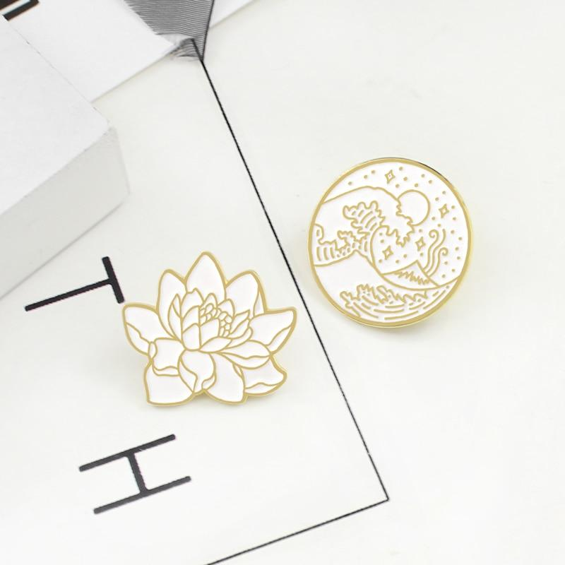 Flower & Seaside Wave Pins