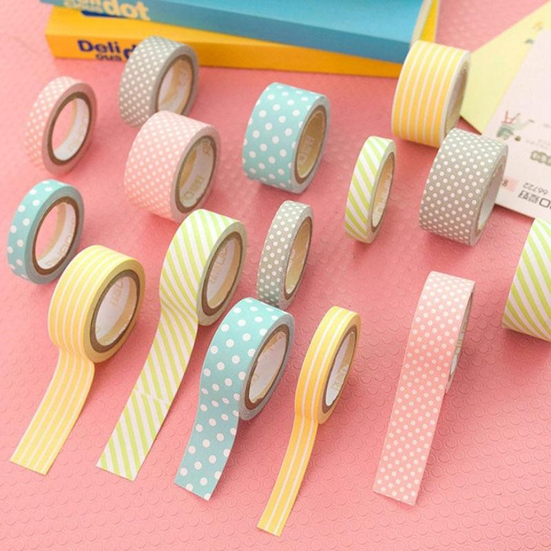 Lovely Rainbow Color Dots Stripes Washi Tape - 5 Pack - Kyla Dawn Designs