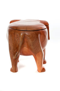 Hand Carved Mahogany Lidded Elephant Bowl