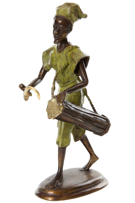 Burkina Bronze Griot with Talking Drum Sculpture