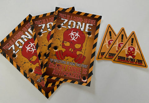 COVID 19 FREE ZONE STICKERS (LIMITED)