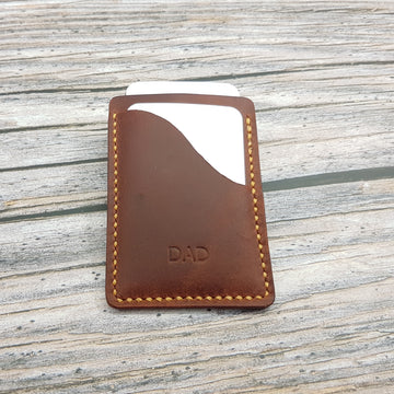 Personalised Leather Card Case-Minimalist Card Holder-Waxy Brown Leather