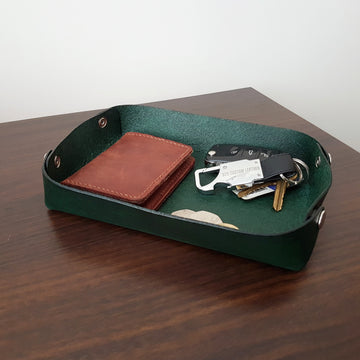 Leather Valet Tray-Desktop Tidy- Leather Catchall-Games Tray-Collapsible-Laser Engraved Message