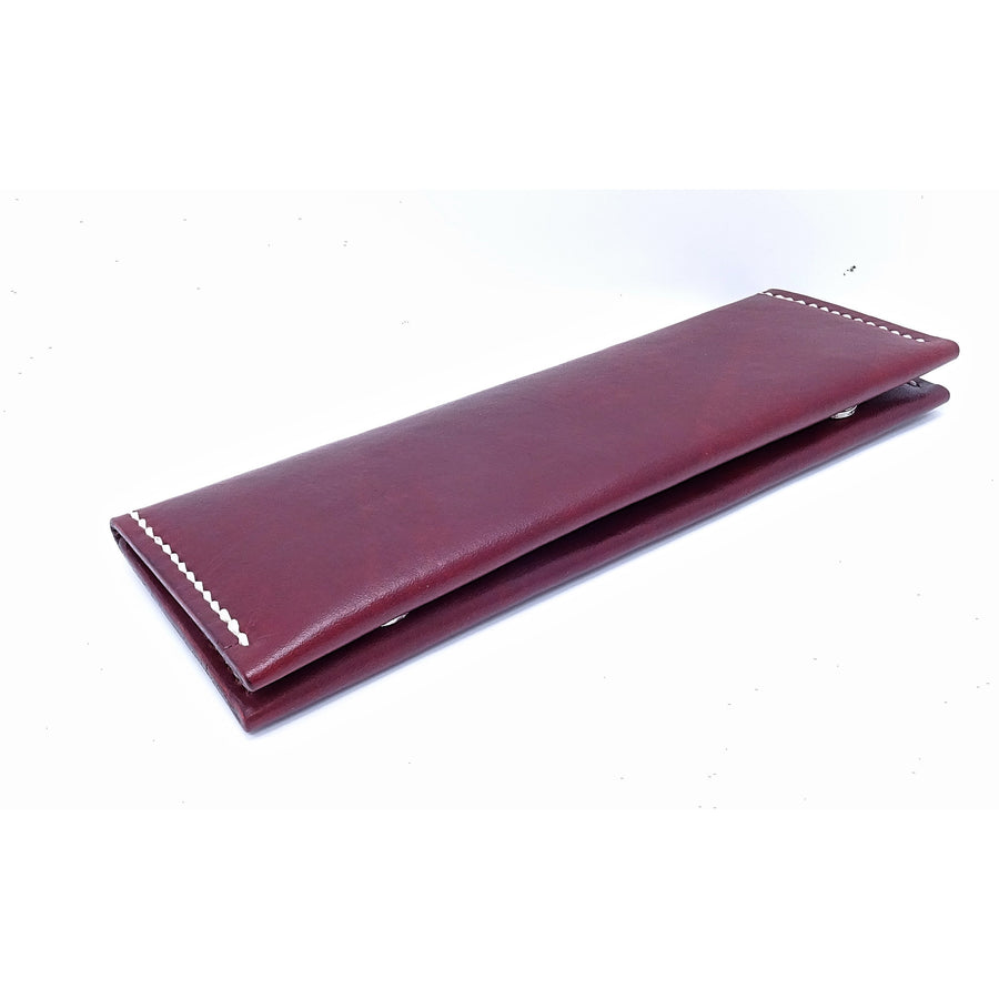 Pencil Case Double Sided Leather Pen Case With Magnetic Buttons - B26 Handmade Leather Goods