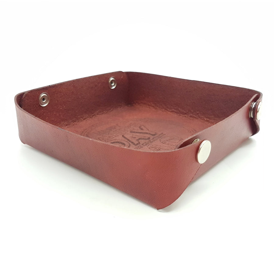 Fathers Day Gift-Leather Storage Tray-Laser Engraved Message Tray- Leather Catchall-Desktop Tidy