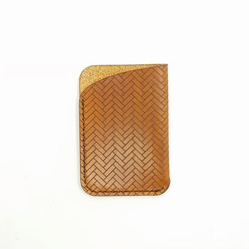 Slim Leather Card Case-Minimalist Card Holder-Laser Engraved Unique Pattern
