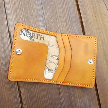 Leather & Fabric Card Wallet-Cash Wallet-Leather Card Holder-World Map Fabric Lined-Father's Day Gift