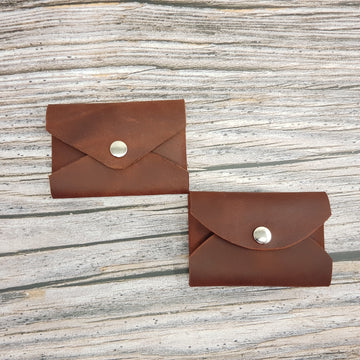 Leather Card Case-Card Wallet-Coin Pouch-Rosewood Red/Brown Waxy South American Leather