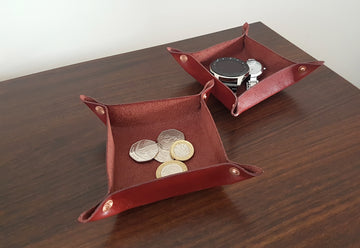 Set Of 2 Leather Ring Trays-Valet Tray-Coin Dish-Leather Catchall