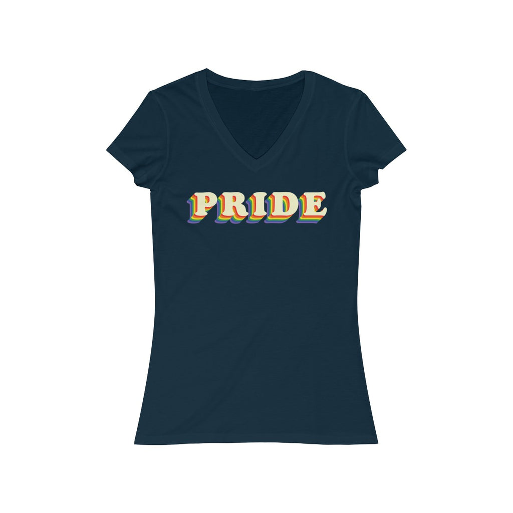 PRIDE Rainbow Letters V Neck T Shirt