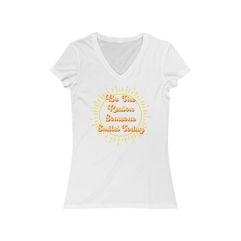 be the reason someone smiles today v neck positive t shirt