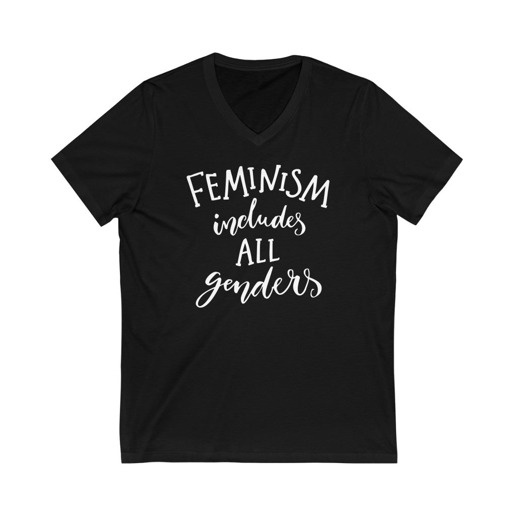 Feminism Includes All Genders Unisex V-Neck T Shirt