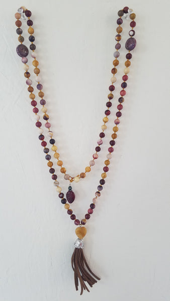 SOLD: Agate, Sliver and Leather tassel.