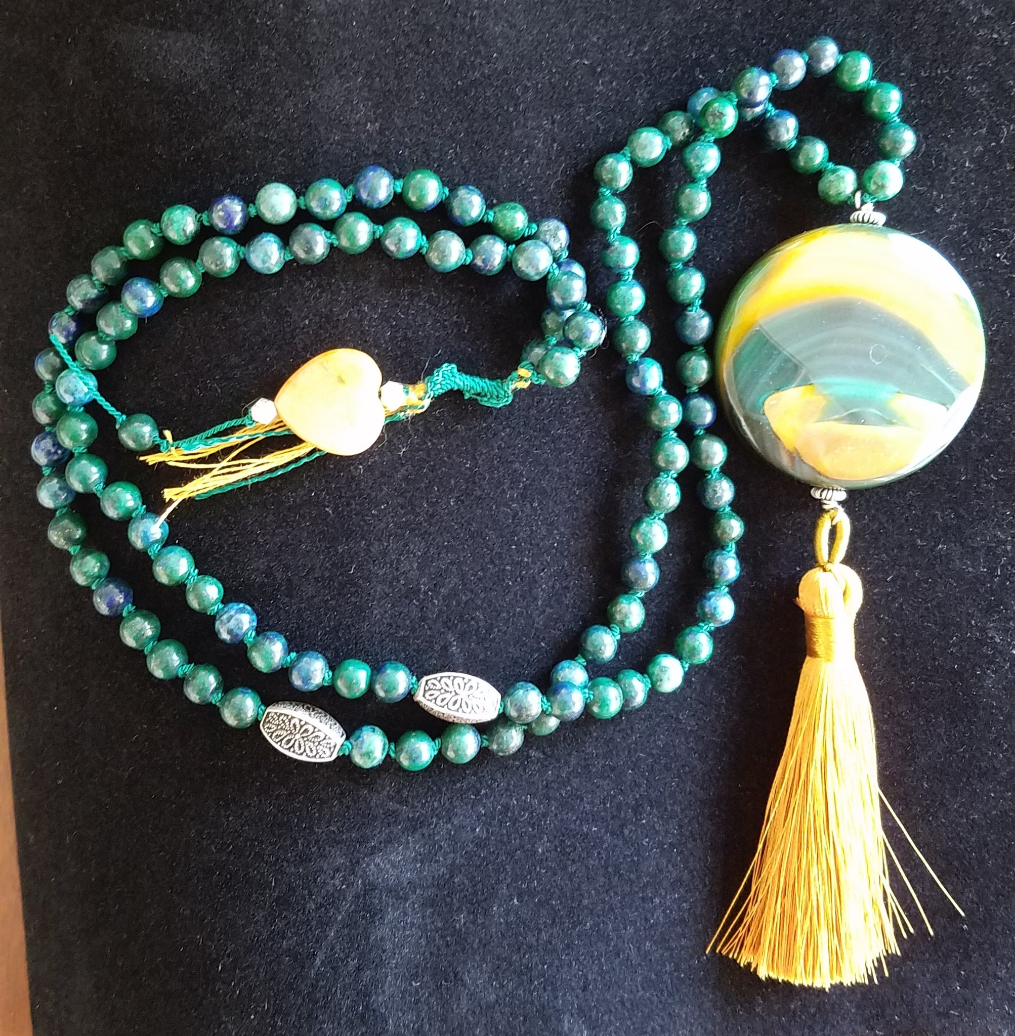 Chyrsocolla with Green/Gold Agate Focal Bead