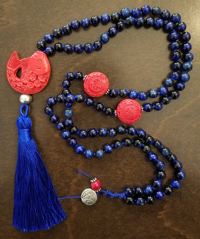 SOLD: Blue Tigers Eyes with Cinnabar