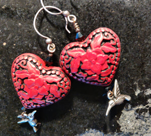 Sold: Cinnabar Heart Earrings with Silver Hummingbirds