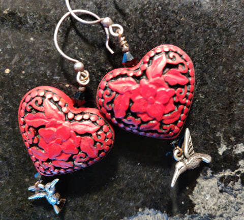 Cinnabar Heart Earrings with Silver Hummingbirds