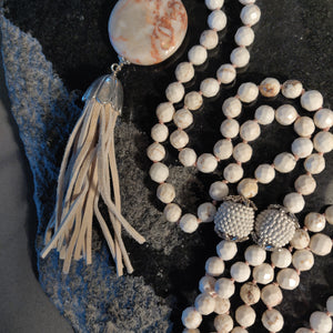 Howlite and Feldspar Mala