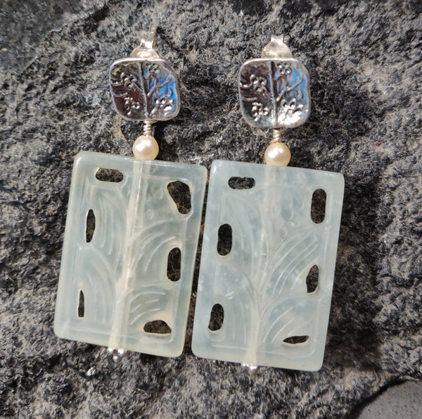 Carved New Jade Earrings