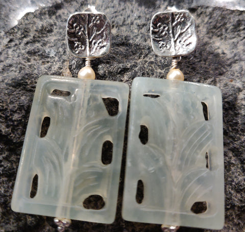 Earrings: New Jade with Silver Posts and Pearl