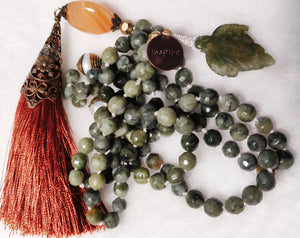 Serpentine and Agate Mala