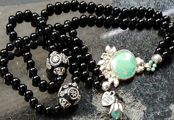 Onyx Mala with Custom Silver and Turquoise Pendant