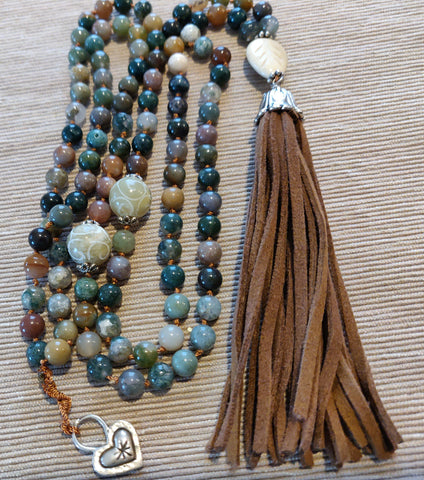 Jasper and Leather Mala