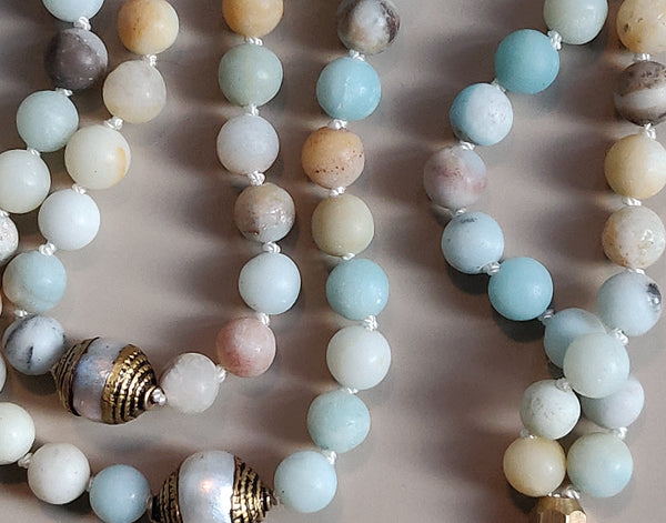 Elephant and Amazonite Mala