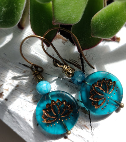 Blue Lotus Earrings