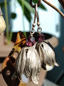 Purple Pearl Petal Earrings