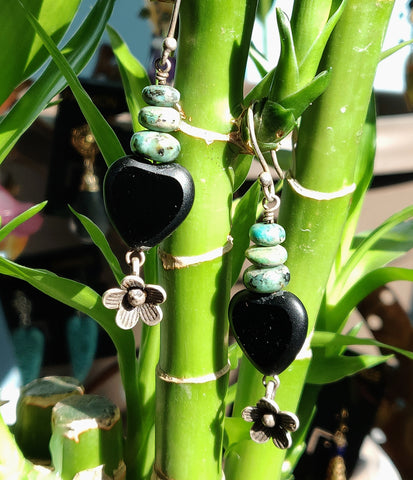 Sold: Onyx Heart Earrings