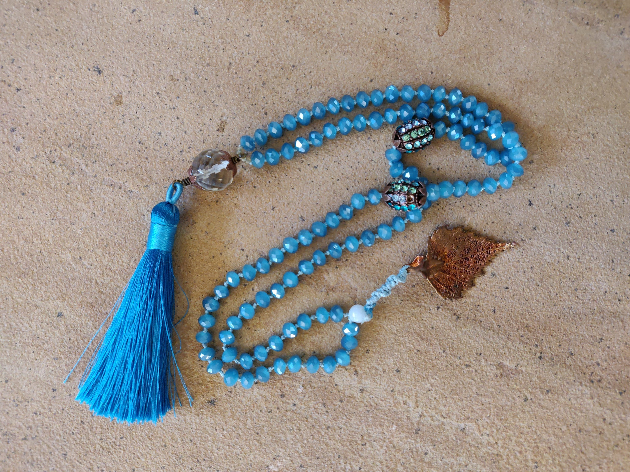 Blue and Copper Leaf Mala