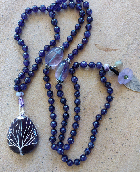 Tree of Life Mala Necklace, gift can be customized and is one-of-a-kind. Amethyst and Silver beads Jewelry Meditation and Mindfullness Tool