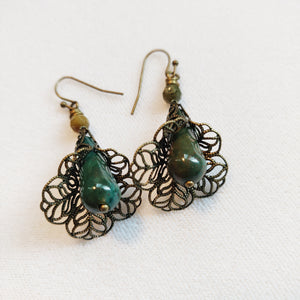 Lacy Brass and Agate Bell Earrings