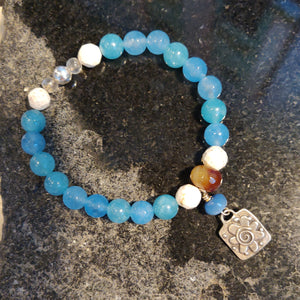 Faceted Blue New Jade Bracelet