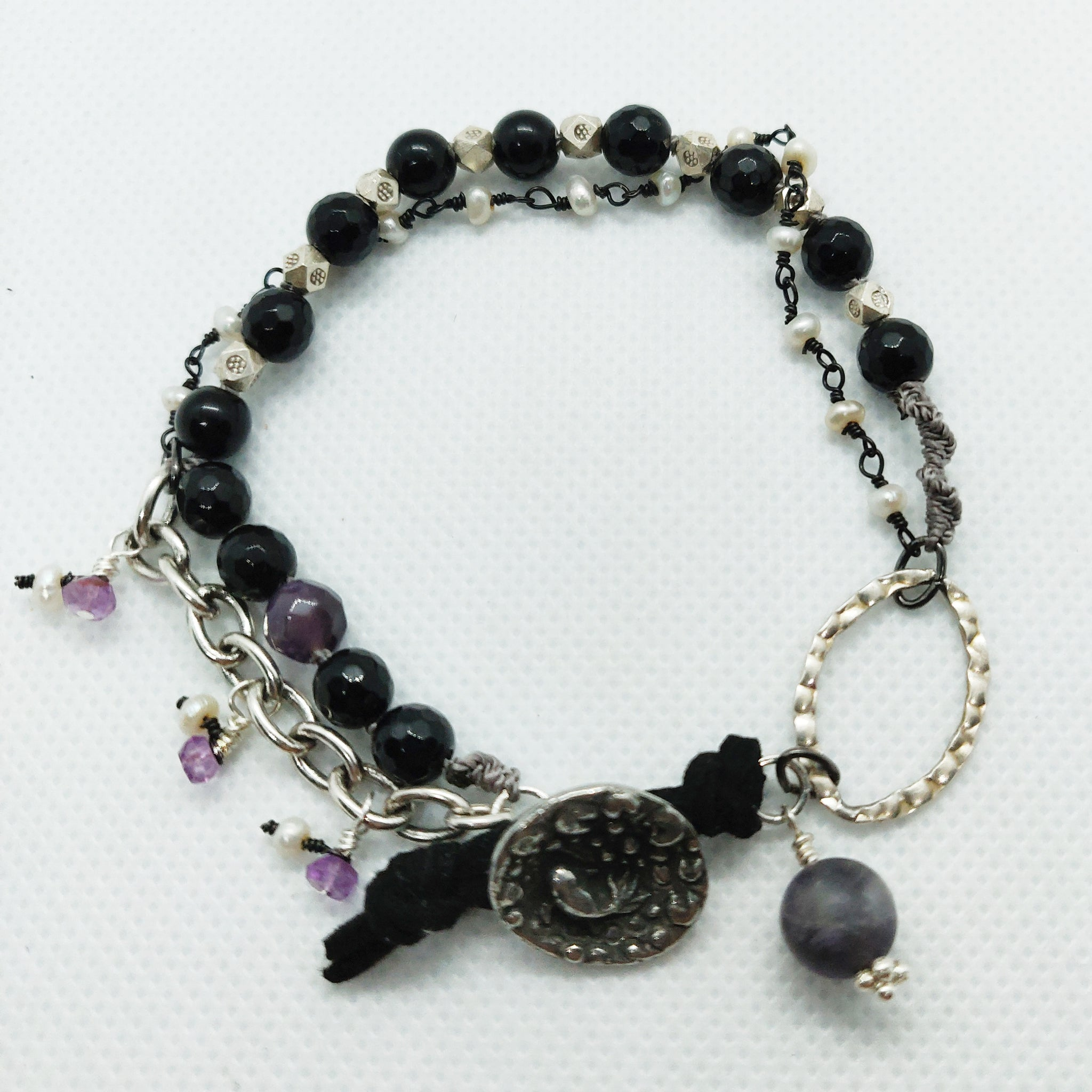 Onyx, Silver and Pearl Bracelet