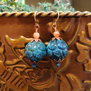 Carved Chrysocolla Earrings