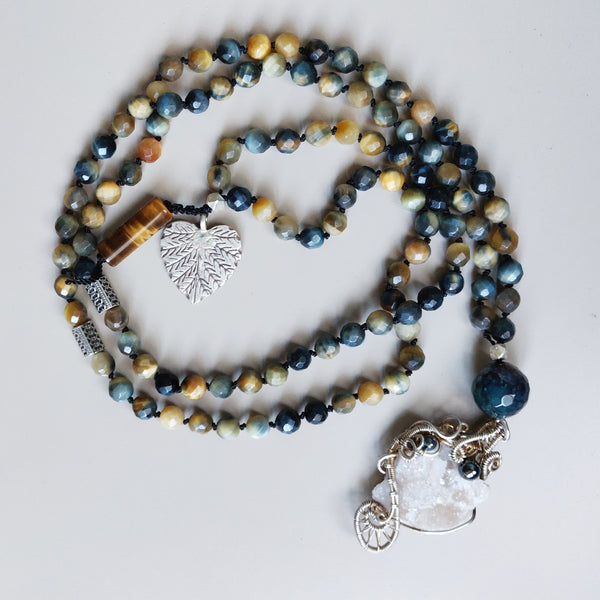 Quartz Druzy and Tiger's Eye Mala
