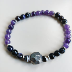Smokey Quartz, Amethyst and Silver Bracelet