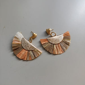 Gold Heart Fan Earrings