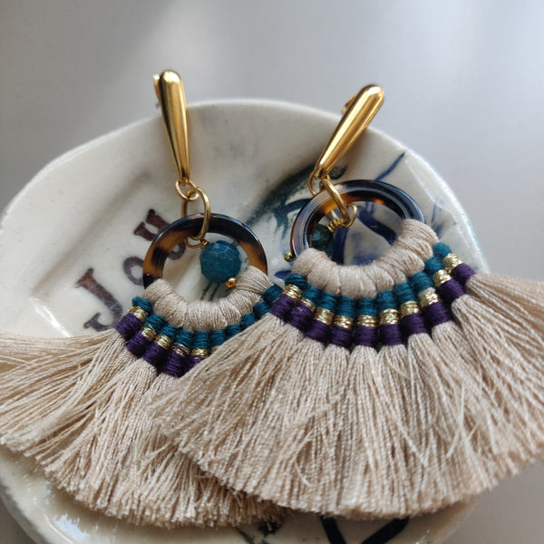 Beige Fan Earrings