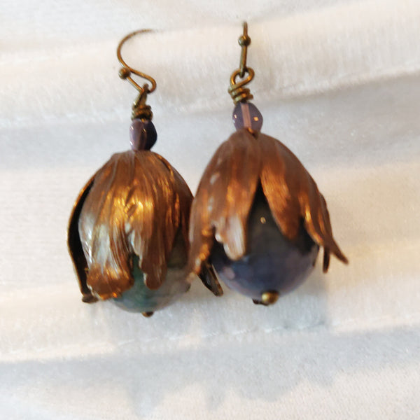 Blue and Brass Agate Petal Earrings