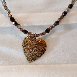 Inspiration Necklace: Brass Floral Heart