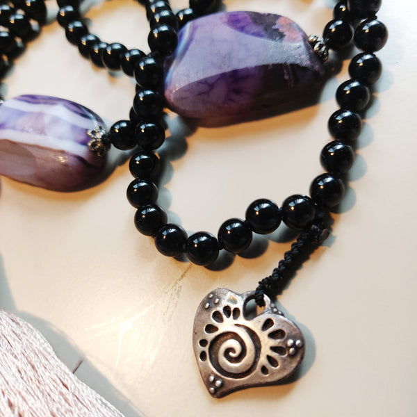 Onyx and Purple Agate Mala