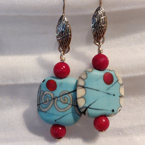 Coral and Blue Bead Earrings